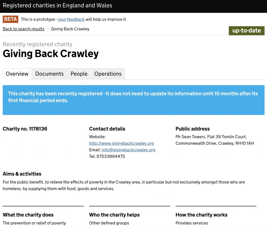 Registered Charity Status - Giving Back Crawley