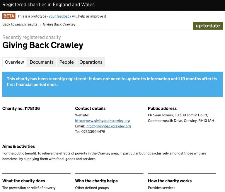 Registered Charity Status